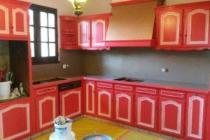 peinture meubles cuisine et béton aspext ciré sur faience crédence